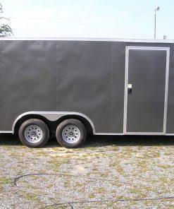 8.5x18 TA Trailer - Charcoal Gray, Ramp, Side Door