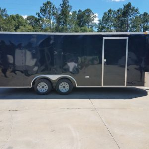 8.5x20 TA Trailer - Black, Ramp, Rounded V-Nose, Spare Mount with Spare