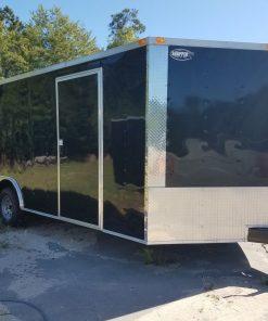 8.5x20 TA Trailer - Black, Ramp, Side Door, Bias Tires, Ramp in V-Nose, Access Door
