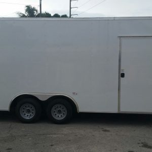 Custom 8.5x20 TA Trailer - White, Ramp, Side Door, Extra Height, Flat Front