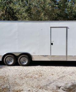 8.5x20 TA Trailer - White, Ramp, Side Door, Extra Height, ATP Wrap