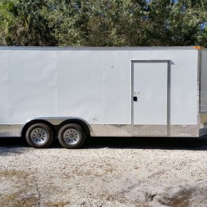 8.5x20 TA Trailer - White, Ramp, Side Door, Extra Height, ATP Wrap