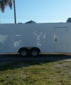 8.5x20 TA Trailer - White, Ramp, Side Door, Extra Height