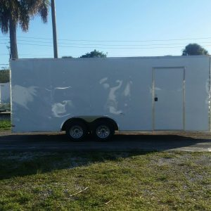 8.5x20 TA Trailer - White, Ramp, Side Door, Extra Height
