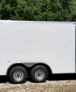 8.5x20 TA Trailer - White, Ramp, Side Door, 5K Axles, Flat Front