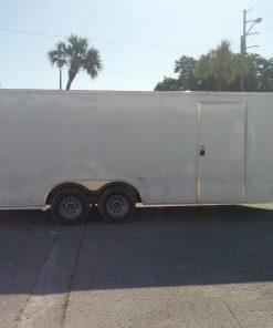 8.5x20 TA Trailer - White, Ramp, Side Door, 5K Axles