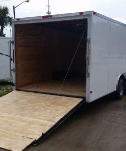 8.5x24 TA Trailer - White, Ramp, Side Door
