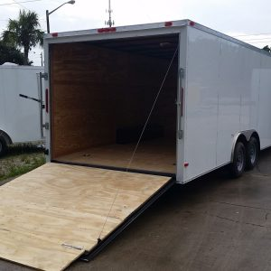 8.5x24 TA Trailer - White, Ramp, Side Door