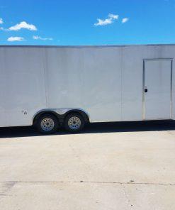 8.5x24 TA Trailer - White, Ramp, Side Door, Extra Height