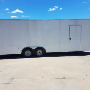 8.5x24 TA Trailer - White, Ramp, Side Door, Extra Height