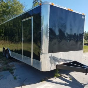 8.5x24 TA Trailer - Black, Ramp, Side Door, 5K Axles, Flat Front, Extra Height