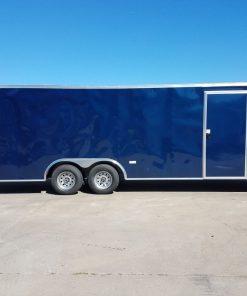 8.5x24 TA Trailer - Blue, Ramp, Side Door, 5K Axles