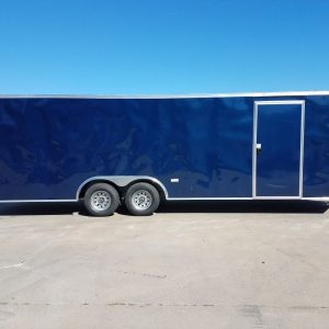 8.5x24 TA Trailer - Blue, Ramp, Side Door, 5K Axles