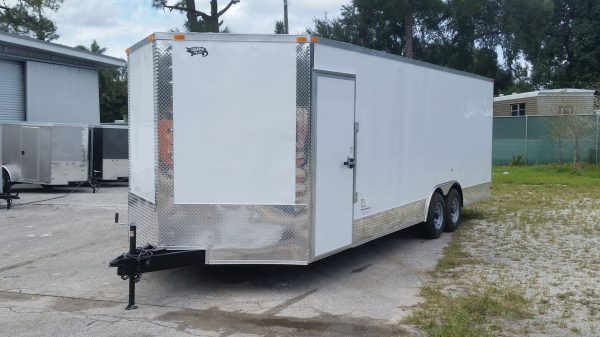 8.5x24 TA Trailer - White, Ramp, Side Door, 5K Axles, Extra Height, Extra Roof Vent