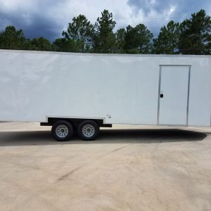 8.5x24 TA Trailer - White, Ramp, Side Door, 5K Axles, Options