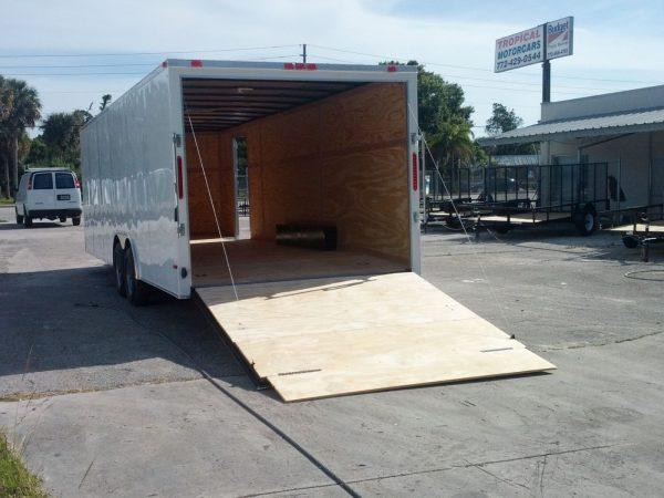 8.5x24 TA Trailer - White, Ramp, Side Door, 5K Axles
