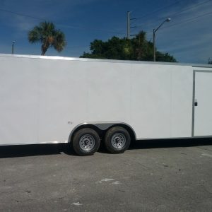 8.5x24 TA Trailer - White, Ramp, Side Door, 5K Axles