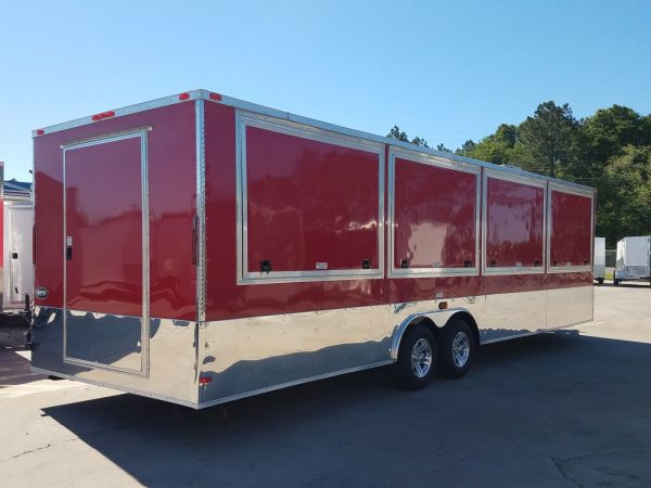 8.5x28 TA Trailer - Red, Concession Doors, AC, Electrical, Many Options