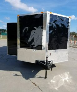 8.5x32 TA Trailer - Black, Ramp, Side Door, D-Rings