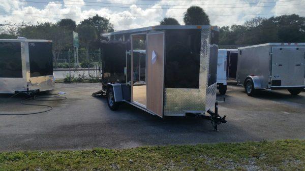 6x12 SA Trailer - Black, Ramp, Side Door