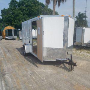 6x12 SA Trailer - White, Ramp, Side Door