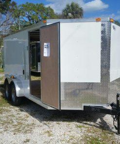 7x14 TA Trailer - White, Ramp, Side Door