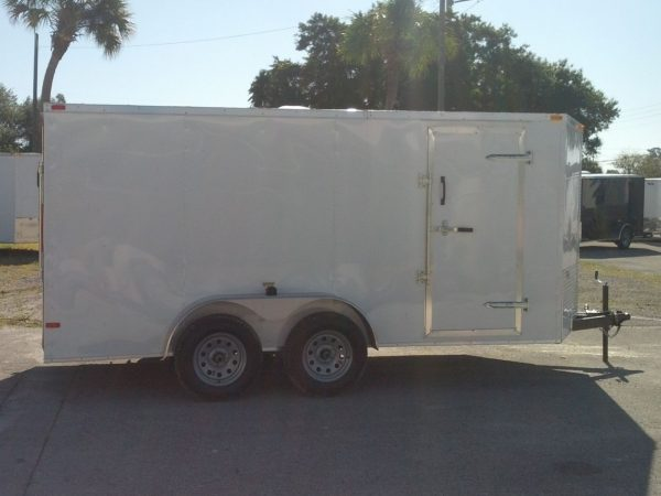 7x14 TA Trailer - White, Ramp, Side Door