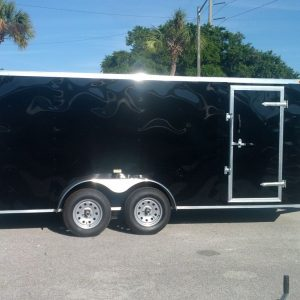 7x16 TA Trailer - Black, Ramp, Side Door