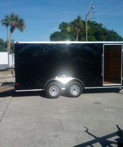 7x16 TA Trailer - Black, Ramp, Side Door