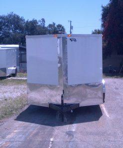 7x16 TA Trailer - White, Ramp, Side Door