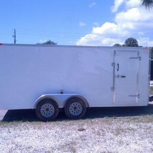 7x16 TA Trailer - White, Ramp, Side Door