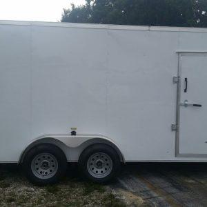 7x16 TA Trailer - White, Ramp, Side Door, Extra Height